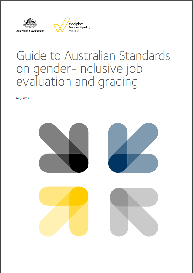 Image is decorative and depicts the cover of the guide to the Australian standards for gender inclusive job evaluation
