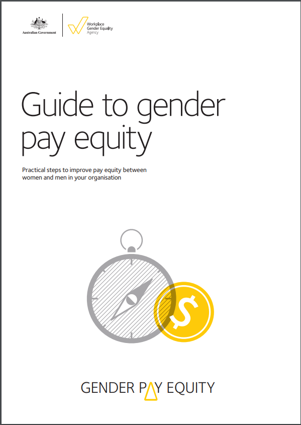 Image is decorative and depicts the cover of the guide to pay equity